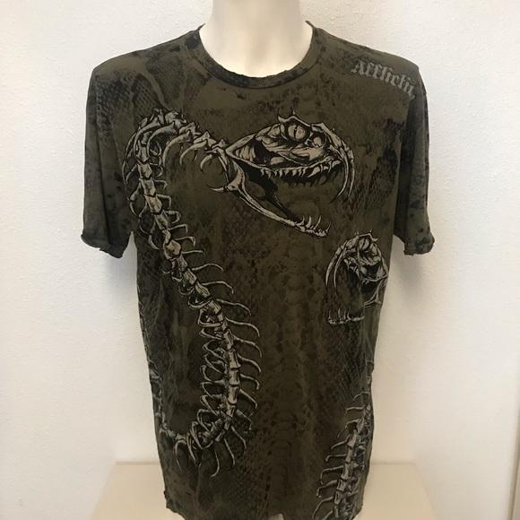 Affliction Other - Affliction Snake Skeletal Studded Distressed Shirt
